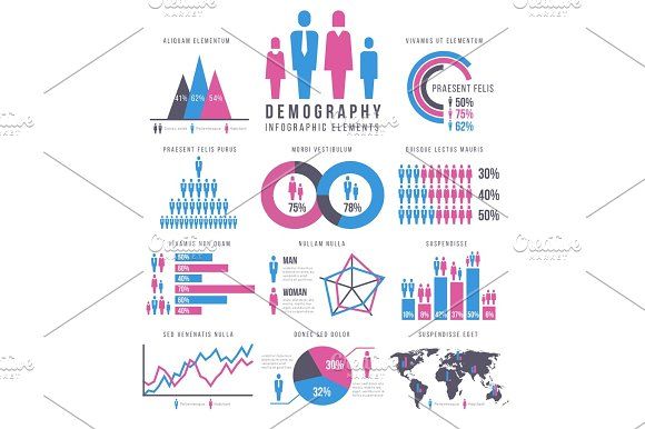 People Adult And Child Human People Family Infographics Vector Signs And Charts