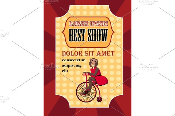 Circus Poster Best Show With Monley On Bicycle