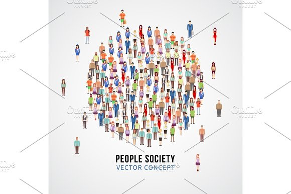 Large People Crowd In Circle Shape Society People Community Vector Concept