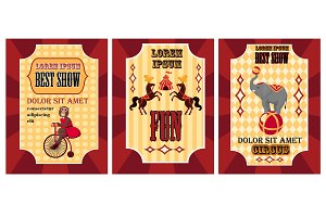 Funny circus poster set. Poster with monkey on bicycle Best show, Poster with two horses and poster with elephant on ball Circus posters on red