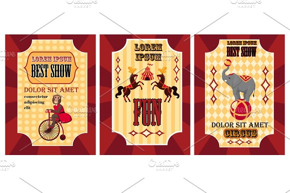 Funny Circus Poster Set Poster With Monkey On Bicycle Best Show Poster With Two Horses And Poster With Elephant On Ball Circus Posters On Red