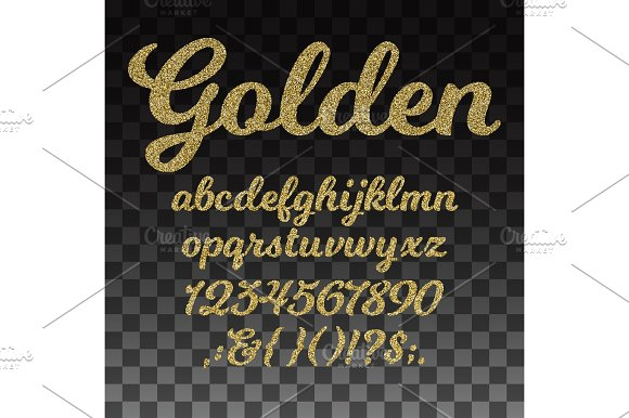 Gold Glitter Vector Font Golden Alphabet With Lowercase Letters Numbers And Symbols