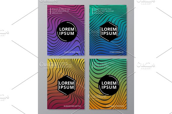 Abstract Liquid Smooth Lines Music Waves With Mixed Color Shapes Graffiti Texture Flyer Placard Poster Vector Templates Set