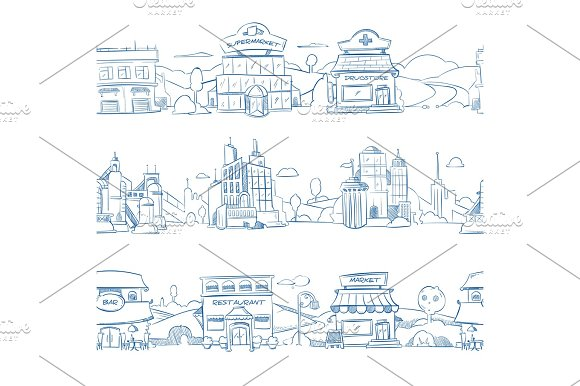 City Retail Buildings Store Supermarket And Restaurant In Hand Drawn Line Doodle Style