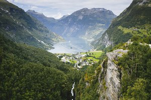 Fjord, Norway with cruise ship