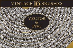 16 vintage floral brushes