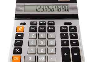 Calculator with numbers on screen