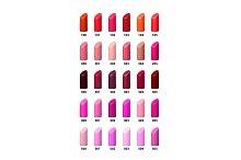 Set of color lipsticks. Vector palette.