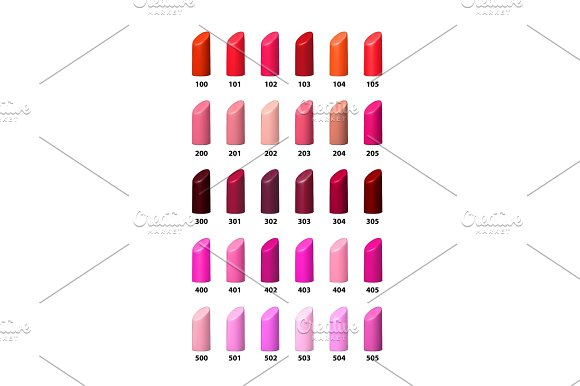 Set Of Color Lipsticks Vector Palette