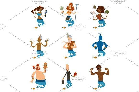 Cartoon Genie Character Magic Lamp Vector Illustration Treasure Aladdin Miracle Djinn Coming Out Isolated Legend Set Wish Magical Wizard Desire