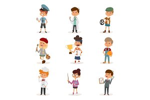 cartoon profession kids children vector set illustration person childhood painter sportsman chef builder policeman doctor artist driver businessman