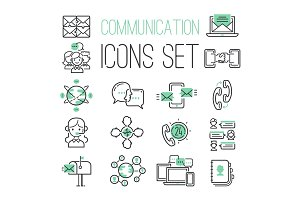 Media internet web black green computer network contact symbols and media business phone technology social communication icons vector illustration.
