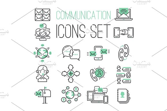Media Internet Web Black Green Computer Network Contact Symbols And Media Business Phone Technology Social Communication Icons Vector Illustration