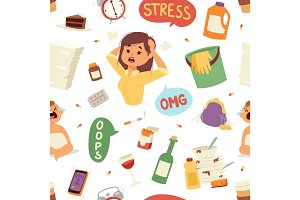 Vector illustration of funny brunette stressed woman seamless pattern vector