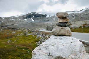 A rock stacking on a Norwegian