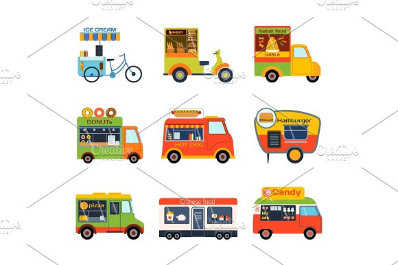 Street Food Festival Color Trailer Vector Restaurant Car