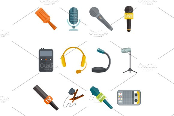 Microphone Vector Icon Isolated Interview Music TV Tool Show Voice Radio Broadcast Audio Live Record Studio Sound Media Set Headphones Set Dictaphone