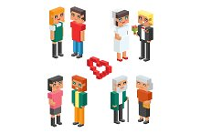 3d isometric family couple children kids people concept flat icons flirting love first date wedding parenting together vector square illustration man woman