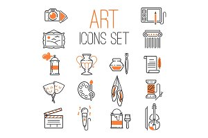 Outlined art icon set on white background modern isolated graphic and craft element web symbol design silhouette pictogram collection vector illustration.