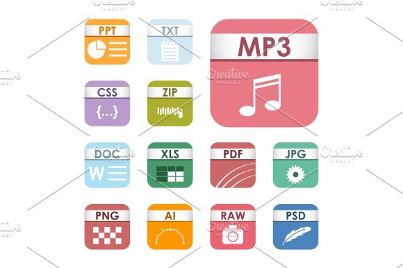 Simple Square File Types Formats Labels Icon Set Presentation Document Symbol And Audio Extension Graphic Multimedia Sign Vector Illustration