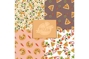Pizza seamless pattern vector illustration piece slice pizzeria food menu snack on white background ingredient deliver italian cheese restaurant