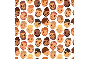 Various expressions bearded man face avatar fashion hipster hairstyle head person mustache vector seamless pattern.