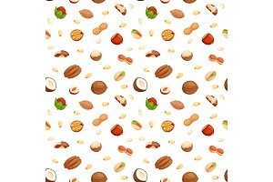 Seamless pattern with illustrations of nuts vector.