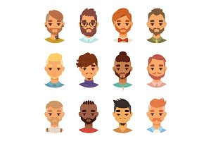 Various expressions bearded man face avatar fashion hipster hairstyle head person mustache vector illustration.