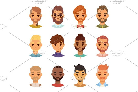 Various Expressions Bearded Man Face Avatar Fashion Hipster Hairstyle Head Person Mustache Vector Illustration