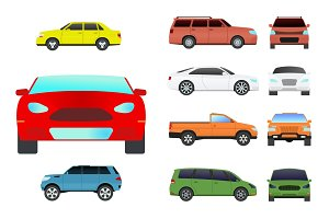 Car vehicle transport type design travel race model sign technology style and generic automobile contemporary kid toy flat vector illustration isolated icon.