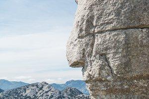 Side face shaped on rock