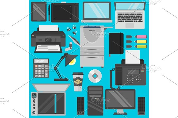 Computer Office Equipment Vector
