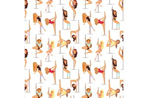 Set of pole dance women cartoon style isolated on white background and young slim beautiful pilon striptease girl seamless pattern vector illustration.