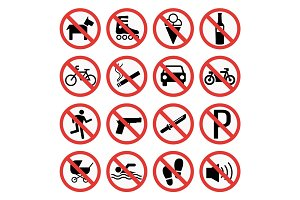 Prohibition signs set safety information vector illustration.