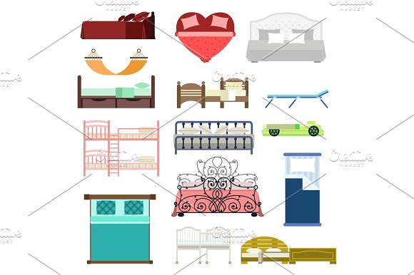 Exclusive Sleeping Furniture Design Bedroom With Aerial View Bed And Interior Room Comfortable Home Relaxation Apartment Decor Vector Illustration
