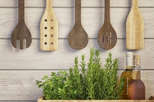 Stock Photo - Kitchen, Spoons, Herbs
