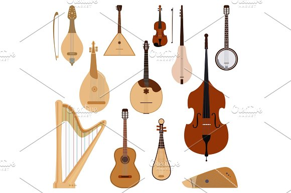 Set Of Stringed Dreamed Musical Instruments Classical Orchestra Art Sound Tool And Acoustic Symphony Stringed Fiddle Wooden Equipment Vector Illustration