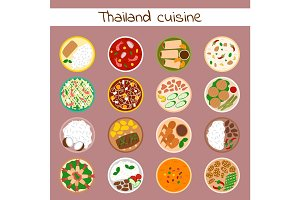 National traditional thai food thailand asian plate cuisine seafood prawn cooking delicious and hot ingredient dinner spicy bowl gourmet vector illustration.
