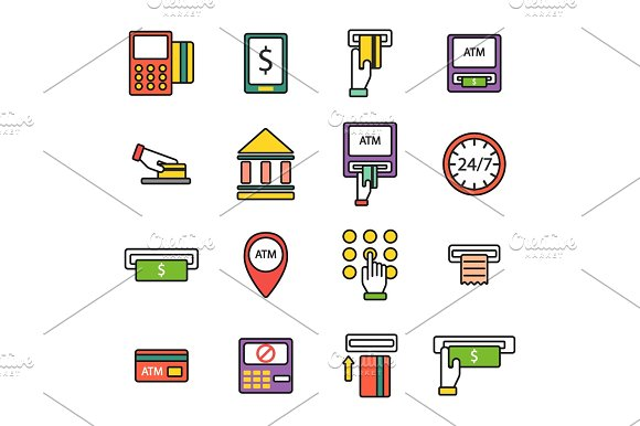 ATM Pos-terminal With Hand Credit Card Icons Payment Transfer Mobile Service And Automatic Terminal Money Currency Cash Sign Banking Dollar Machine Vector Illustration