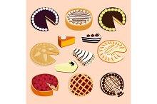Homemade organic pie dessert vector illustration isolated on background