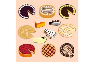 Homemade organic pie dessert vector illustration isolated on background