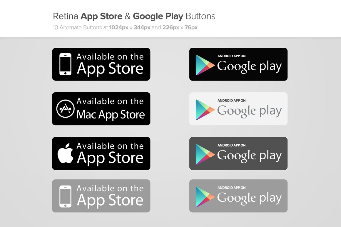 App store google play buttons x2 web elements Play app