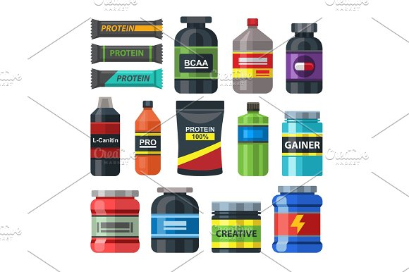Sports Food Gym Nutrition Icons Vector Set Packs Isolated On White Healthy Lifestyle Concept