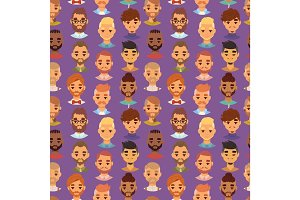Character bearded man face avatar fashion hipster hairstyle head with mustache vector illustration seamless pattern