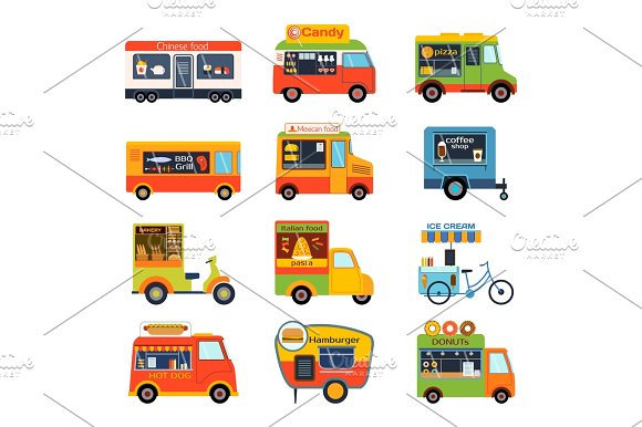 Street Food Festival Color Trailer Vector Restaurant Car