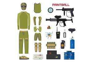 Set of paintball club symbols icons protection uniform and sport game design elements shooting man costume equipment target vector illustration