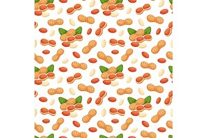 Seamless pattern with illustrations of peanuts vector.