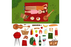 Top view of couple in love lying on picnic plaid barbecue outdoor icons and romantic date people cooking summer food character vector illustration.