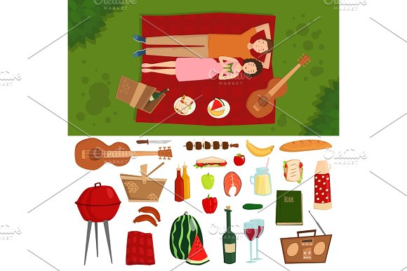 Top View Of Couple In Love Lying On Picnic Plaid Barbecue Outdoor Icons And Romantic Date People Cooking Summer Food Character Vector Illustration