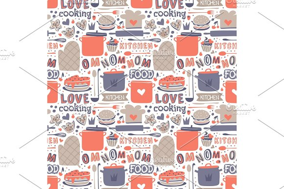 Cooking Seamless Pattern Retro Style With Kitchen And Baking Items Vector